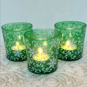 Green Snowflake Candle Votives